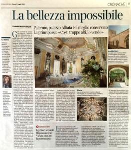 Articolo Corriere della Sera - Palazzo Alliata