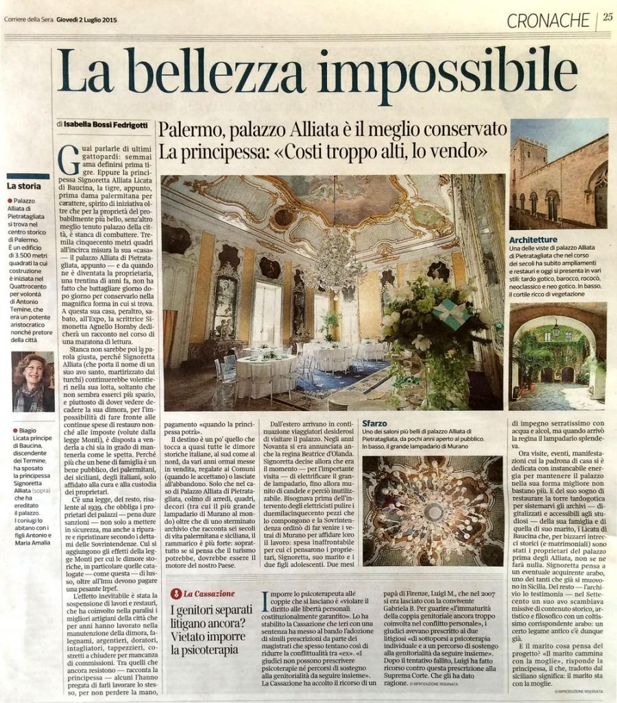 l'articolo La bellezza impossibile del Corriere della Sera sul Palazzo Alliata di Palermo